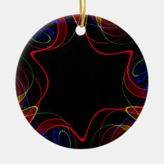 Ornamento De Cerâmica Fractal #2 do arco-íris