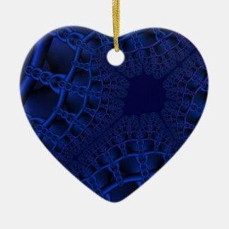 Ornamento De Cerâmica Fractal azul elétrico