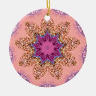 Ornamento De Cerâmica Fractal bonito da estrela da lavanda