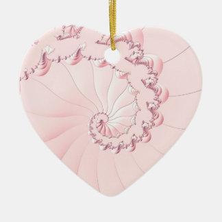 Ornamento De Cerâmica Fractal cor-de-rosa
