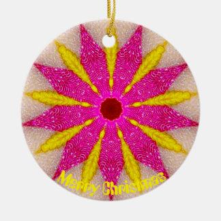 Ornamento De Cerâmica Fractal cor-de-rosa e amarelo de Pointsettia