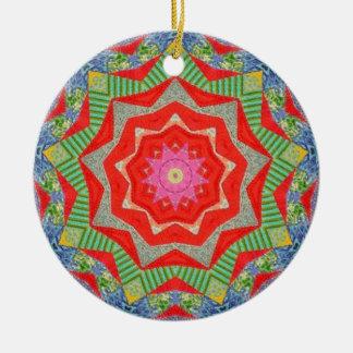 Ornamento De Cerâmica Fractal da edredão do Natal