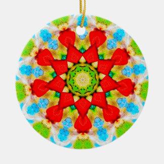 Ornamento De Cerâmica Fractal da placa de comensal do Natal