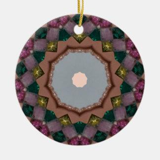 Ornamento De Cerâmica Fractal das luzes de Natal