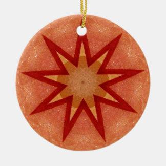 Ornamento De Cerâmica Fractal de brilho da estrela do Natal