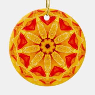 Ornamento De Cerâmica Fractal do Daffodil do Natal