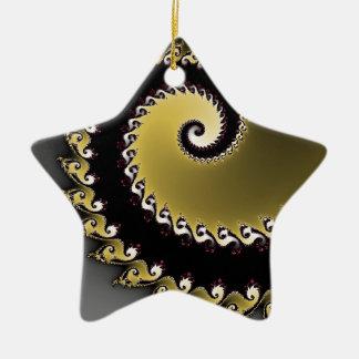 Ornamento De Cerâmica Fractal. Ouro, prata, preta