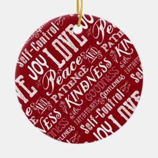 Ornamento De Cerâmica Fruta da alegria do amor do Natal da tipografia do