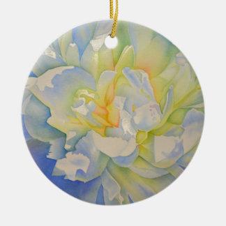 Ornamento De Cerâmica Fulgor da manhã - peônia branca