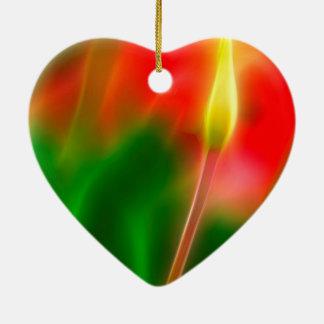 Ornamento De Cerâmica Fulgor verde, vermelho e amarelo da tulipa