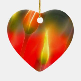 Ornamento De Cerâmica Fulgor vermelho e amarelo da tulipa