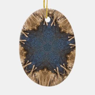 Ornamento De Cerâmica Fundo azul do vime da estrela do caleidoscópio