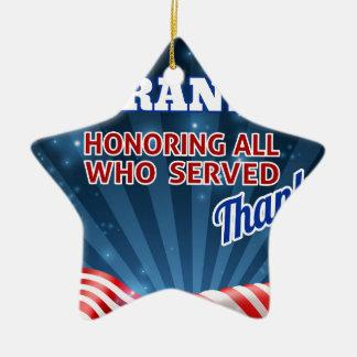 Ornamento De Cerâmica Fundo da bandeira americana de dia de veteranos