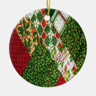 Ornamento De Cerâmica Fundo da edredão do Natal