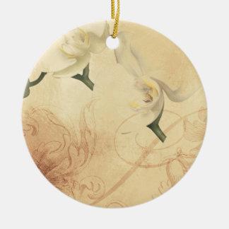 Ornamento De Cerâmica Fundo da orquídea do vintage