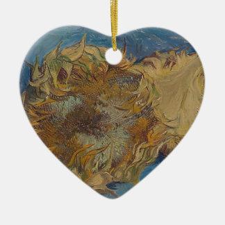 Ornamento De Cerâmica Fundo do girassol