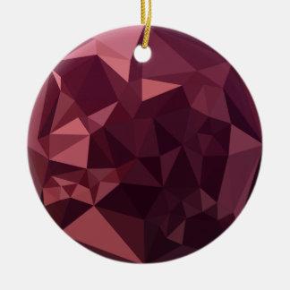 Ornamento De Cerâmica Fundo do polígono do abstrato escuro do vermelho