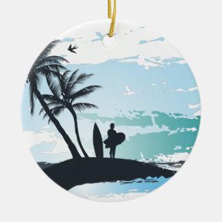 Ornamento De Cerâmica Fundo do surfista do verão da palma