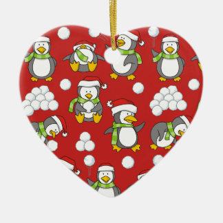 Ornamento De Cerâmica Fundo dos pinguins do Natal
