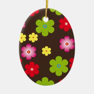 Ornamento De Cerâmica Fundo floral do vintage