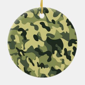 Ornamento De Cerâmica Fundo verde do teste padrão da camuflagem do preto
