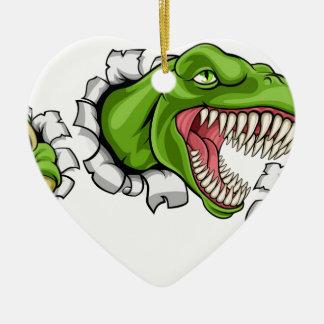 Ornamento De Cerâmica Furo de agarramento do dinossauro de T Rex no