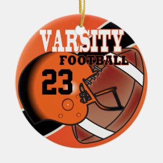 Ornamento De Cerâmica Futebol alaranjado e preto do time do colégio