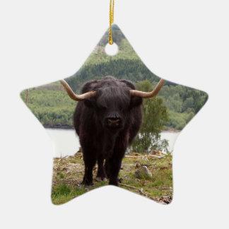 Ornamento De Cerâmica Gado preto das montanhas, Scotland