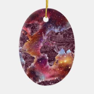 Ornamento De Cerâmica galáxia 5 do mapa do mundo