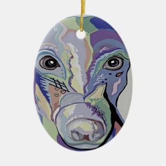 Ornamento De Cerâmica Galgo em cores da sarja de Nimes