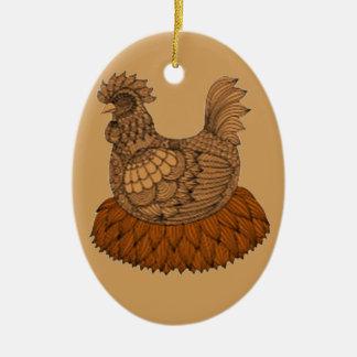 Ornamento De Cerâmica Galinha