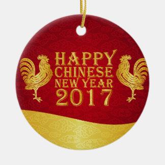 Ornamento De Cerâmica Galo 2017 do estilo chinês de ano novo