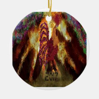 Ornamento De Cerâmica Galo 2017 do fogo