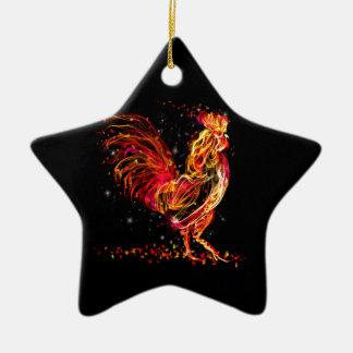 Ornamento De Cerâmica Galo do fogo. Design legal da faísca animal