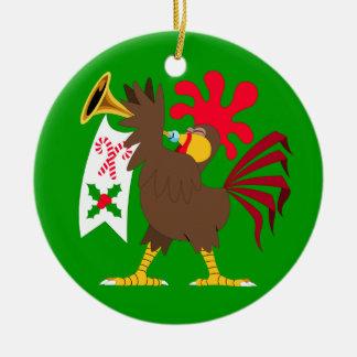 Ornamento De Cerâmica Galo do toque de trombeta do Natal