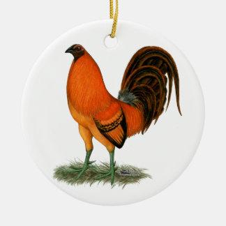 Ornamento De Cerâmica Galo do vermelho do gengibre do Gamecock