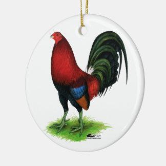 Ornamento De Cerâmica Gamecock:  Escuro - vermelho