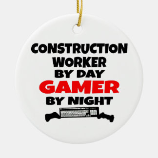 Ornamento De Cerâmica Gamer do trabalhador da construção