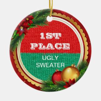 Ornamento De Cerâmica Ganhador do prémio da festa de Natal feia da
