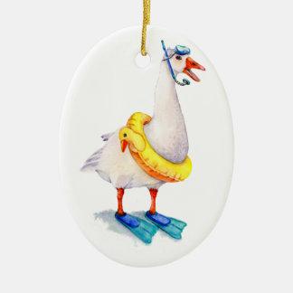 Ornamento De Cerâmica Ganso branco Snorkeling