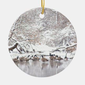 Ornamento De Cerâmica Gansos na neve