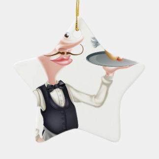 Ornamento De Cerâmica Garçom do Hotdog dos desenhos animados