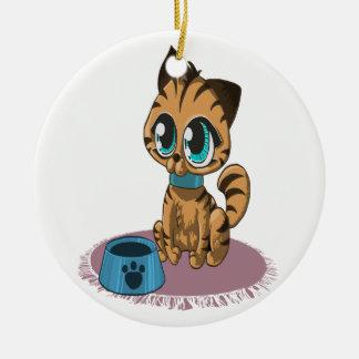 Ornamento De Cerâmica Gatinho bonito macio brincalhão adorável com olhos