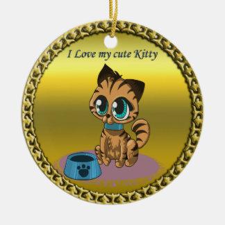 Ornamento De Cerâmica Gatinho bonito macio brincalhão do ouro com olhos
