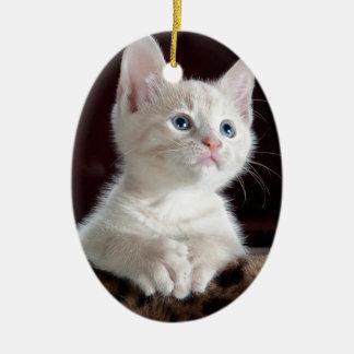 Ornamento De Cerâmica Gatinho branco minúsculo