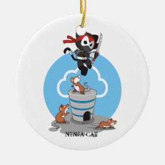 Ornamento De Cerâmica Gatinho de Ninja com ratos