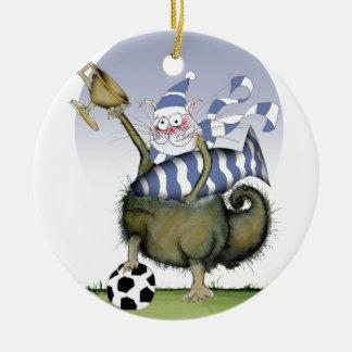 Ornamento De Cerâmica gatinho dos azuis do futebol
