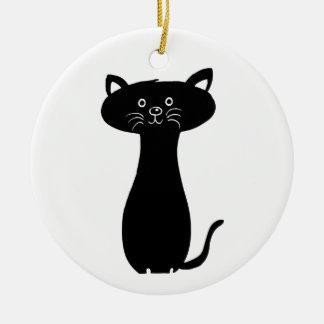 Ornamento De Cerâmica Gatinho preto dos desenhos animados