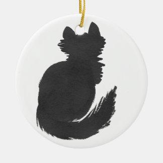 Ornamento De Cerâmica Gatinho preto macio