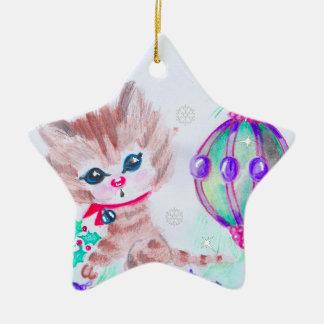 Ornamento De Cerâmica Gatinho retro do Natal